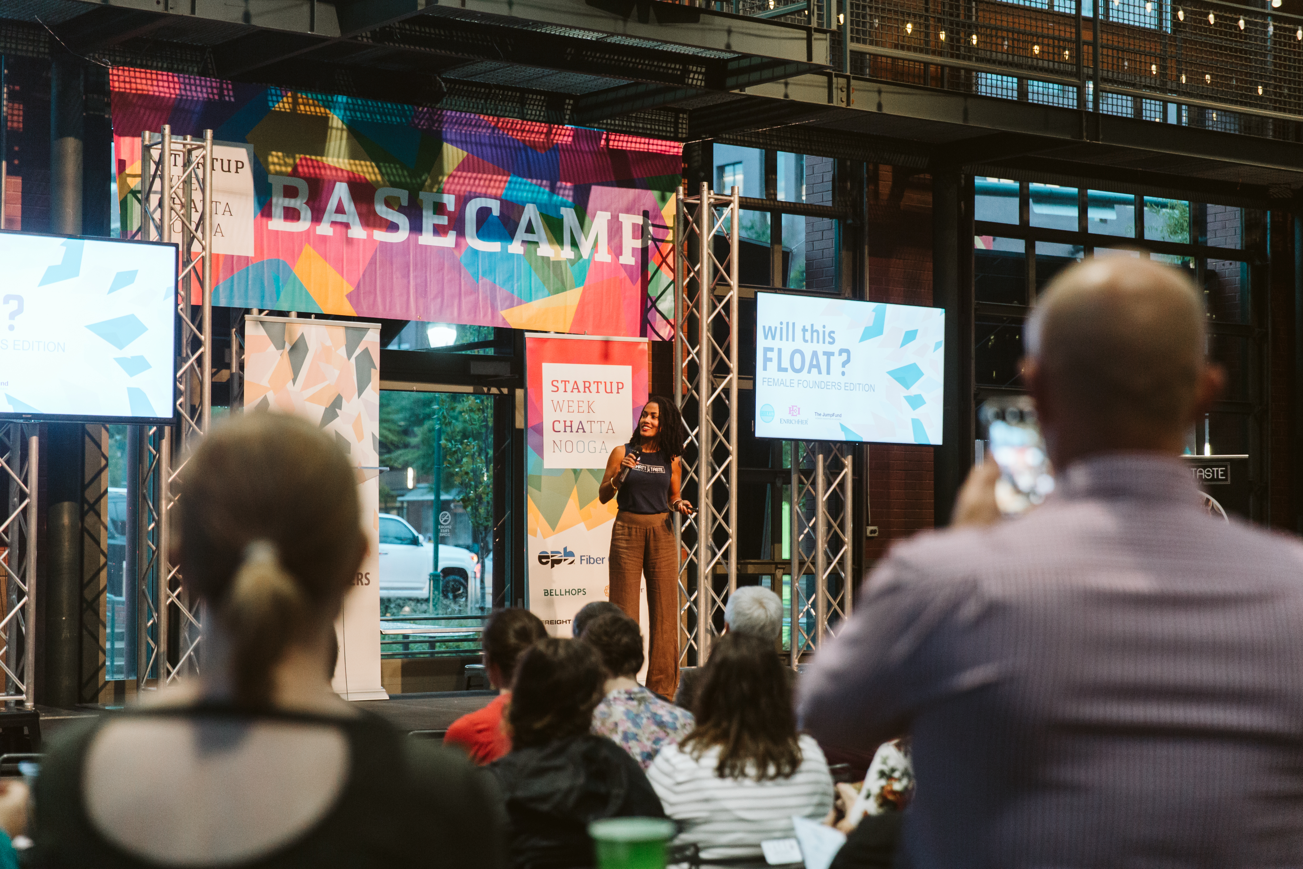 Briana Garza pitching at last year's Will This Float event during Startup Week
